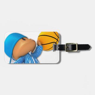 Basket-ball semi-transparent étiquette à bagage