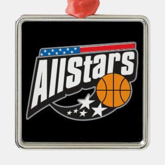 Basket-ball toutes les étoiles ornement carré argenté