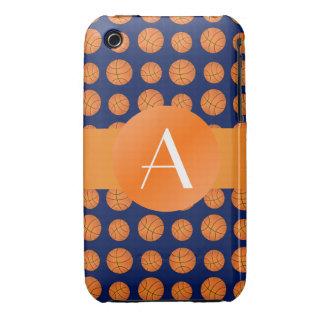 Basket-balls de bleu marine de monogramme coque iPhone 3 Case-Mate