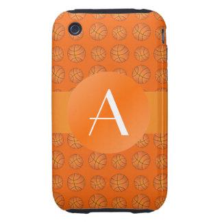 Basket-balls d'orange de monogramme étuis tough iPhone 3