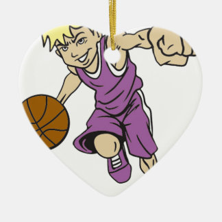 BASKET BOY BLONDE CERAMIC HEART ORNAMENT