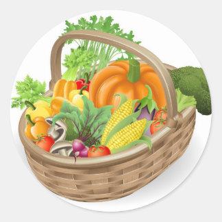 Basket fresh vegetables classic round sticker
