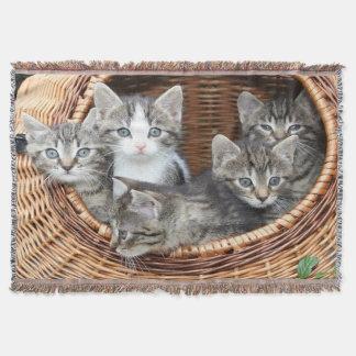 Basket Full Of Kittens Throw Blanket