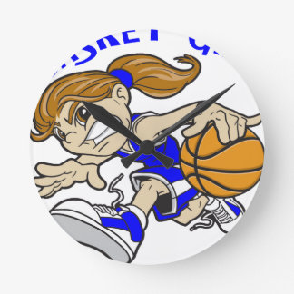 BASKET GIRL ROUND CLOCK