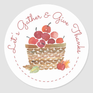 Basket of Apples Thanksgiving Stickers