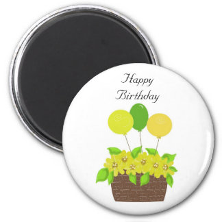 Basket of Balloons and Flowers 2 Inch Round Magnet