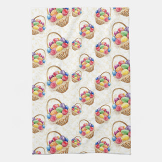 Basket of colorful Easter eggs Kitchen Towel