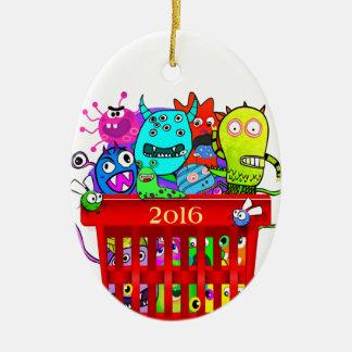 Basket of Deplorables, Adorable Deplorable Ceramic Oval Ornament