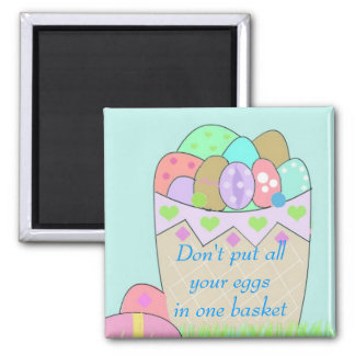 Basket of Easter Eggs with Saying Square Magnet
