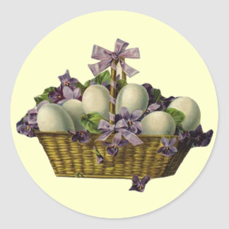 Basket of Eggs & Violets Classic Round Sticker