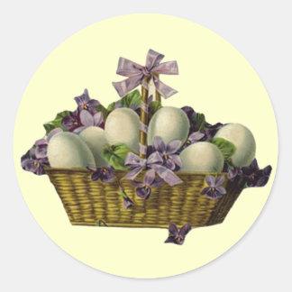 Basket of Eggs & Violets Round Sticker
