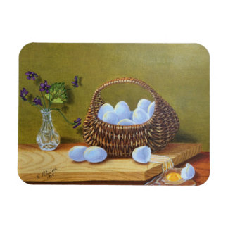 Basket of Eggs with Violets Rectangular Photo Magnet