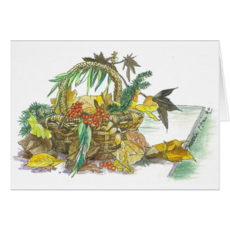 Basket of Fall leaves Card