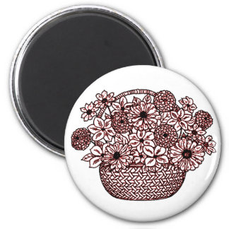 Basket of Flowers 2 Inch Round Magnet