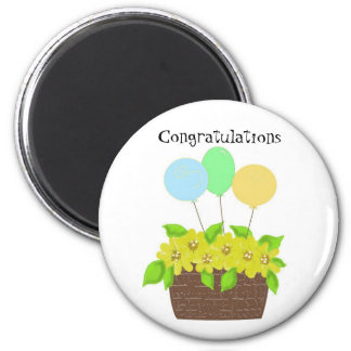 Basket of Flowers and Balloons 2 Inch Round Magnet