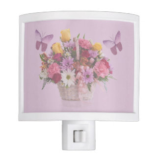 Basket of Flowers and Two Butterflies Night Lite