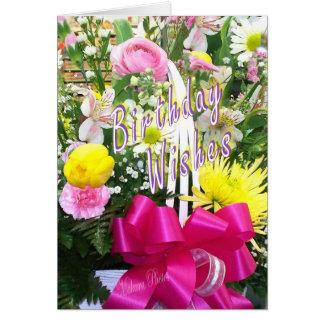 Basket of Flowers Bday Wishes Card