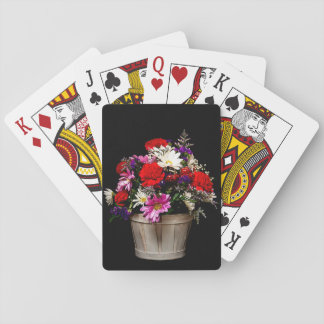 Basket of flowers playing cards