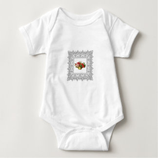basket of flowers red pink baby bodysuit