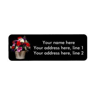 Basket of flowers return address label