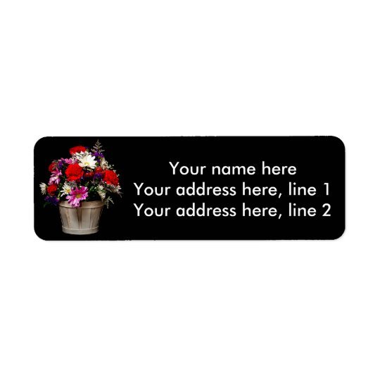 Basket of flowers return address label