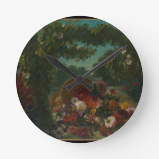 Basket of Flowers Round Clock