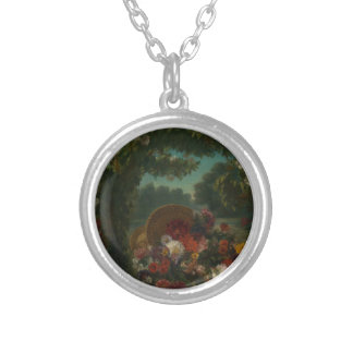 Basket of Flowers Silver Plated Necklace