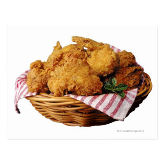 Basket of fried chicken postcard