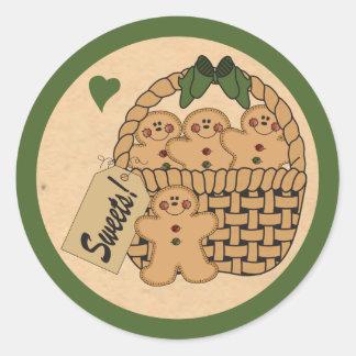 Basket of Gingerbread Men | Green Round Sticker
