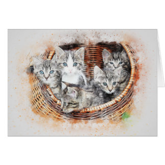 Basket of Kittens | Abstract | Watercolor Card