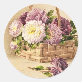 Basket of Mums Vintage Birthday Classic Round Sticker