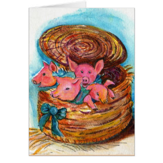 Basket of Piglets Card