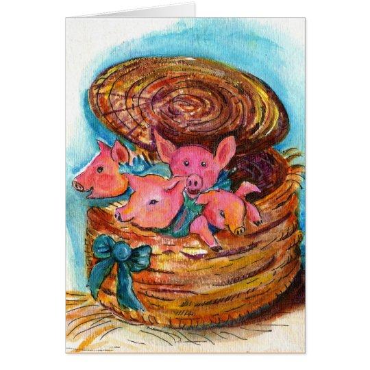 Basket of Piglets Card