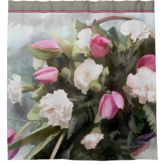 Basket of Pink Tulips and White Carnations