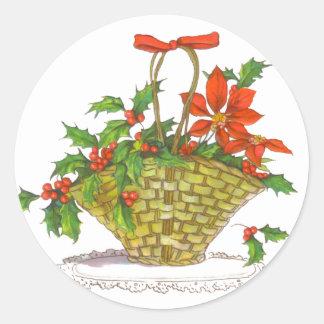 Basket of Poinsettias & Holly Round Sticker