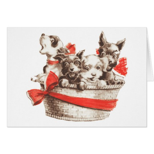 Basket of Puppies, Greeting Card
