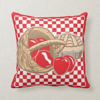 Basket of Red Apples & Pie Checkered Pillow
