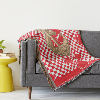 Basket of Red Apples & Pie Checkered Throw Blanket