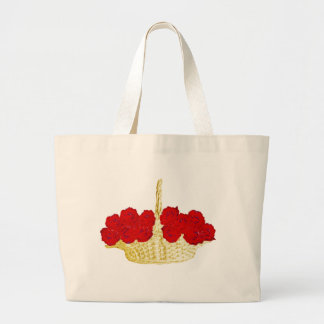 Basket of Red Roses Large Tote Bag