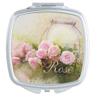 Basket of Roses Travel Mirrors