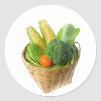 Basket of vegetables classic round sticker