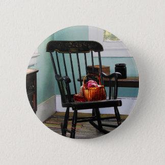 Basket of Yarn on Rocking Chair 2 Inch Round Button