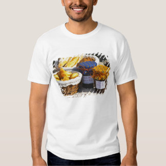 Basket with croissants and chocolate breads. tee shirts