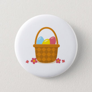 Basket with Easter eggs and flowers button