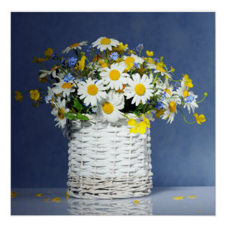 Basket with spring flowers perfect poster