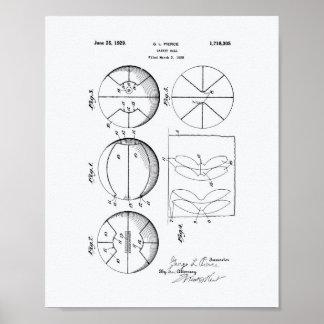 Basketball 1929 Patent Art White Paper Poster