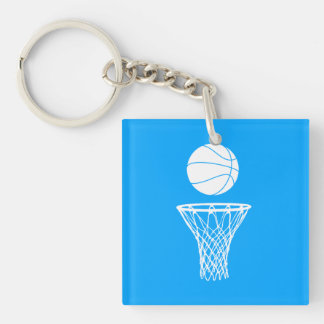 Basketball and Hoop Acrylic Keychain  w/Name Blue