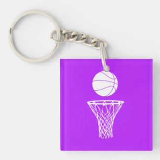 Basketball and Hoop Acrylic Keychain  w/Name Purpl