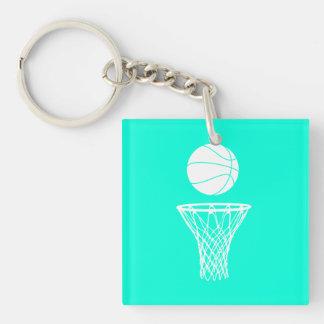 Basketball and Hoop Acrylic Keychain  w/Name Turqu