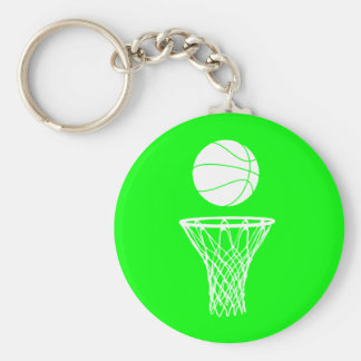 Basketball and Hoop Keychain  Green
